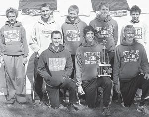 The Pettisville boys cross country team won the Fostoria Invitational, Saturday, Oct. 6. Front row from left: Dominic Frey, Tanner Rufenacht, Austin Dykstra. Second row: Kyle Lantz, Jacob Hauter, Clay Waidelich, Jeremy Mann, Nathan Siller. Missing: Evan Rufenacht.– photo by Jack Frey