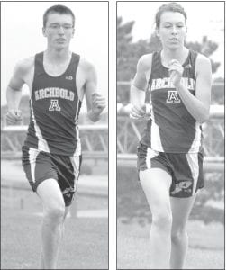 Tyson Helmke, left, finished 30th in the boys race while Ellie Sonnenberg, right, was 19th in the girls race at the NWOAL cross country championships, Saturday, Oct. 13. Photos are from earlier this season.– photos by Mario Gomez