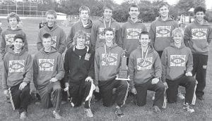 The Pettisville boys cross country team won the Buckeye Border Conference championship for the second straight year. Front row, from left: Daniel Sauder, Tim Iott, Austin Dykstra, Tanner Rufenacht, Dominic Frey, Eli King. Second row: Kyle Lantz, Clay Waidelich, Evan Rufenacht, Jeremy Mann, Jacob Hauter, Chris Waidelich, Nathan Siller.– photo by Jack Frey