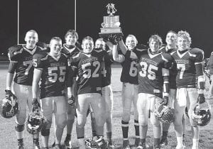 The Streaks won the Lions Club trophy for the fifth straight year. Holding the trophy are seniors, from left: C.J. Gladieux, Levi Gerig,Tyson Dietrich, Darin Sauder, Dylan Lantz, Justice Zimmerman, Tyson Lersch, Zach Zimmerman, Jay Miller.– photo by Mario Gomez