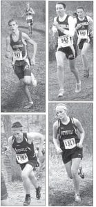 Upper left: Bryce Tinsman (943) and Alex Hurst were the first two runners into the chute for Archbold in the District 3 boys race. Upper right: Ellie Sonnenberg (942) and Tressa Parsley were the first two Blue Streak girls to finish in the District 2 girls race. Bottom left: Pettisville's Dominic Frey was the first Blackbird to cross the finish line in the District 1 boys race. Bottom right: Samantha Shinhearl was the first Blackbird into the chute in the District 2 girls race.– photos by Jack Frey