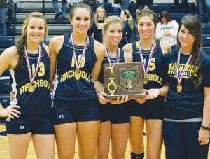The Archbold volleyball and boys soccer teams won district titles, Saturday, Oct. 27. Top: Seniors on the volleyball team hold the Div. III district volleyball championship trophy. It is the 25th district volleyball title. From left: Rachel Brader, Jenny Lehman, Taylor Coressel, Darian Oberlin, and Maddie Short. Below: senior cocaptains on the boys soccer team display the Div. III district championship trophy. It is the team's first. From left: Seth Yoder, David Bontrager, and Shae Hernandez.– photos by Mario Gomez and Mary Huber