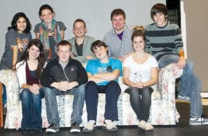 """Members of the cast of the Archbold High School production of """"Play On!"""" are, seated from left: Moriah Reichert, Gabe Short, Jacob Hartman, and Kinsey Smith. Standing: Moriah Rosales, Tressa Parsley, Caleb Wyse, Adam Steider, and Jay Miller. The show is about """"a play within a play.""""– photo by David Pugh"""