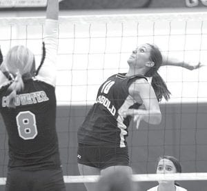 Above: Senior Jenny Lehman led Archbold in attacks with 15 kills against Coldwater. The Cavaliers defeated the Streaks in five games to advance to the Division III regional final at Findlay, where they lost to Columbus Bishop Ready. Left: Darian Oberlin, also a senior, tips the ball over the net.– photos by Mary Huber