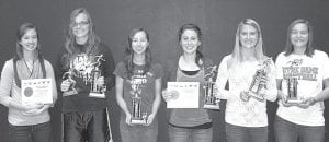Members of the Pettisville girls cross country team who received awards at the postseason banquet, Sunday, Nov. 11, are, from left: Delaney Nofziger, Buckeye Border Conference scholar athlete; Samantha Shinhearl, most valuable player and captain award; Grace Friend, rookie award; Taylor D'Alelio, coach's award and BBC scholar athlete; Amber Dykstra, coach's award; Jaelyn Rufenacht, most improved player. Below: Boys team members receiving awards are, from left: Jacob Hauter, most improved player; Jeremy Mann, coach's award and BBC scholar athlete; Austin Dykstra, most improved player; Tanner Rufenacht, coach's award, captain award, and BBC scholar athlete; Dominic Frey, most valuable player and BBC scholar athlete. Not pictured: Kyle Lantz, rookie award.– photos courtesy Debbie Dykstra