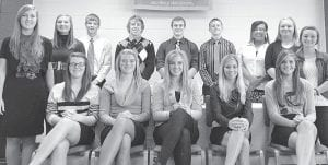 The newest members of the Archbold High School chapter of the National Honor Society are, front row, from left: Krista Leupp, Cassidy Wyse, Paige Peterson, Taylor Coressel, Jesse Fidler. Back row: Karis Kindinger, Olivia Krieger, Peter Schoenhals, Jay Miller, Evan Wyse, Micah Bernath, Mondesi Walters, Pamela Steider, Ashley Short. The NHS held its annual induction ceremony last month.– courtesy photo