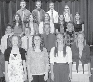 The Pettisville High School chapter of the National Honor Society inducted 17 new members during a ceremony, Monday, Nov. 12, in the school auditorium. New members are, first row, from left: Shelby Miller, Taylor D'Alelio, Audra Klopfenstein, Lauren Hostetler. Second row: Daniel Sauder, Eliot Hartzler, Josh Sauder, Forest Stuckey. Third row: Samantha Gomez, Brooke Betz, Brooke Waidelich, Bree Youse, Clara Beck. Fourth row: Josiah Hoops, Jeremy Mann, Dominic Frey, Chrysta Beck.– courtesy photo