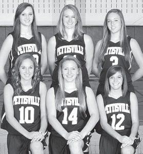 Returning letterwinners on the Pettisville girls basketball team are, front row from left: Lauren Hostetler, Jordyn Pursel, Mikala Avina. Back row: Dana Fricke, Amber Loar, Audra Klopfenstein.– photo courtesy A New Image Photography