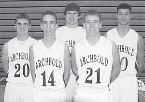 Five letterwinners return on the AHS boys basketball team. From left: Evan Wyse, Zeb Frank, Tyson Dietrich, Jay Miller, Taylor Price.– photo by Mary Huber