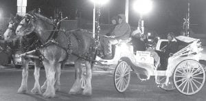 Horse-drawn buggies and carriages are always a big part of the annual parade. This horse-drawn carriage, sponsored by the Archbold Rotary Club, was one of several in the parade.– photo by David Pugh