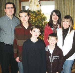 Elias Rash, third from left, is one of two area youngsters born on the 12th day of December, 2000, which will make him 12 years of age on 12-12-12. His family members are, from left: his father Craig; brother Levi, 15; Elias; brother Dylan, 9; sister McKenna 17; and mother, Pam.– photo by David Pugh