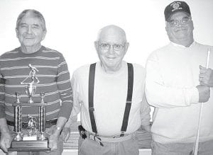 Winners of the Dec. 12 shuffleboard tournament at Wyse Commons, Fairlawn Haven, are, from left: Russ McQuillin, first place; Marv Storrer, second; Dave Schaffner, third. Highest score: Storrer, 87 points. Best offensive shot: Schaffner. Best defensive shot: Dale Gautsche. Best finish: Schaffner with a come from behind, placing his opponent in the minus zone for -20 points, winning the game, taking third.– courtesy photo