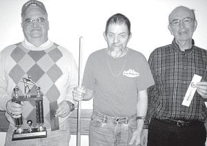 Winners of the Dec. 10 pool tournament at Wyse Commons, Fairlawn Haven, are, from left: Dave Schaffner, first place; Tim Nofziger, second; Hank Schweinhagen, third. Runs of the day: Schweinhagen, run of five; Nofziger and Schaffner, run of four. Shot of the day: Schweinhagen. Best bank shot: Nofziger.– courtesy photo