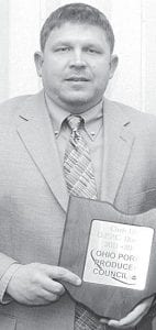 """Chris Ott, Archbold, has retired from the Ohio Pork Producers Council Board. He served as District 1 director from 2010- 12. """"Chris' commitment and knowledge of the pork industry made him a worthy candidate to serve on the Ohio Pork Board,"""" said Dick Isler, OPPC executive vice president.– courtesy photo"""
