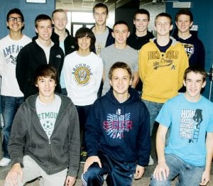 The Archbold High School boys soccer team received a 2012 Academic All-Ohio award. The 14 team members whose grades were submitted to the Ohio Scholastic Soccer Coaches Association had a combined gpa of 3.55 out of 4.0. First row, from left: David Bontrager, Seth Yoder, and Ryan King, who were Academic All-Ohio as individuals. All are seniors. Ben Eggers, a senior, not pictured, also received the Academic All-Ohio honor as an individual. To receive the individual award, student-athletes must have a 3.7 or better GPA. Second row: Alex Hurst, senior, Jeremy Lerma, a freshman; and Jacob Ott and Micah Bernath, juniors. Third row: Shae Hernandez, a senior, Brodie Nofziger and Emerson Radabaugh, juniors; Gavin Morton and Matt Sevey, sophomores. Not pictured: Santos Quintanilla, a junior.– photo by David Pugh