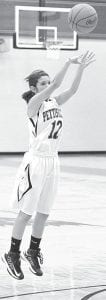 Mikala Avina takes a shot in Pettisville's non-league contest with Montpelier. Avina scored nine points in the Birds' victory over the Locos and 11 points in their BBC win against North Central last week. PHS is 10-6, 5-2 BBC.– photo by Mario Gomez