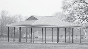 A picnic shelter was added to the Ridgeville Township Park last fall. The park board continues to upgrade the facility. This year, a grant was obtained to fund additional playground equipment. The next big additions for the park include a combination tennis basketball court and a parking area.– photo by Pam Kruse