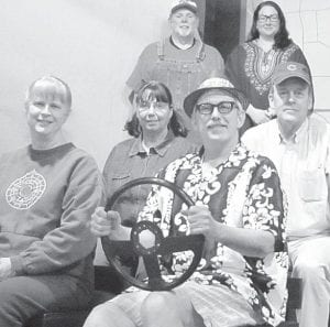 """Members of the cast of """"Leaving Iowa,"""" in their car. Front row, from left: Jan Delaney, Randy Rohrs. Second row: Marcia Rozevink, Bill Phelps. Third row: Randy Stuckey, Randi Ross.– courtesy photo"""