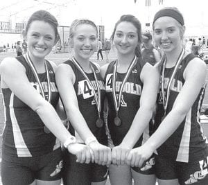 The Archbold girls 4x400-meter relay team placed fifth in Divisions II/III at the Ohio Association of Track and Cross Country Coaches indoor state track meet, Saturday, March 16, at Akron University. Tressa Parsley, Kassidy Garrow, Meridith Short, and Jensyn Garrow, from left, ran the race in a time of four minutes, 13.7 seconds. Also qualifying for the state meet were Levi Wyse in the 60-meter dash and the girls 4x800 (Demetria Martinez, Jensyn Garrow, Mara Beck, and Tressa Parsley).– courtesy photo