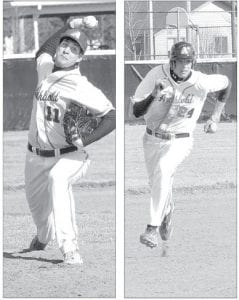 Left: Michael Walker was on the mound for Archbold in the Streaks' 9-4 non-league win over Pettisville, Monday, April 1. Right: Tyson Schnitkey rounds second base on his way to scoring for AHS.– photos by Mario Gomez