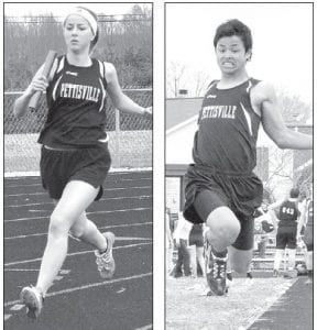 Carley Hoffmire, left, runs a leg in the 4x800 relay while Jakob Waidelich, right, takes a leap in the long jump in track action, Tuesday, April 9.– photos by Mario Gomez