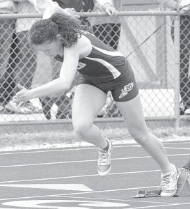 Tressa Parsley jumps off the starting block in AHS track action, Tuesday, April 9. She was on the relay team that won the girls 4x400 at the Diller Invitational, Saturday, April 27.– photo by Mario Gomez