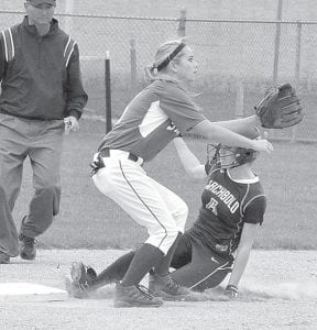 Natalie Beck steals second base early in Archbold's suspended non-league contest with Stryker, Tuesday, April 23.– photo by Mario Gomez