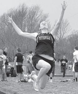 Pettisville's Amber Loar, shown in an April 9 meet, placed third at the Diller Invitational, Saturday, April 27.– photo by Mario Gomez