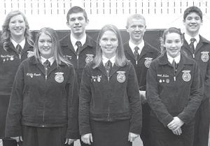 The 2013-14 Pettisville FFA officer team is, front row from left: Mikayla Crouch, reporter; Chrysta Beck, treasurer; Hannah Meller, sentinel. Back row: Trisha Cousino, secretary; Josiah Hoops, student advisor; Logan Nofziger, president; and Daniel Sauder, vice president.– courtesy photo