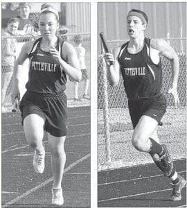 Devon Friend, left, and Jeremy Mann, right, run legs in their respective 4x400 relay races, Tuesday, April 30, at Hilltop. The PHS boys team won the tri-meet with the Cadets and Stryker, while the PHS girls finished second.– photo by Mario Gomez