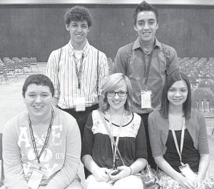 Pettisville FCCLA officers attending state leadership conference in Columbus were, front row from left: Jacob Nofziger, Taylor Herschberger, Alyssa Ramos. Back row: Nathan Siller, Seth Hernandez.– courtesy photo