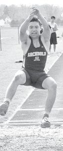 Benny Gomez was on Archbold's long jump relay team that finished third at the Palmer Relays.– photo by Mario Gomez