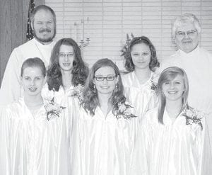 St. Martin's Lutheran Church, Archbold, held confirmation, Sunday, May 5. Those confirmed were, front row, from left: Eliza Avers, Mackenzie Short, Jillian Schweitzer. Middle row: Maura Riley, Michelle Robinson. Back row: Paul Reichert, pastor; Brenda Shibler.– courtesy photo