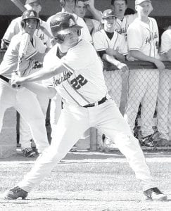 Jacob Wagner doubles to center field against Fairview, May 15.– photo by Mario Gomez