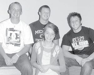 Four Archbold High School seniors got together to talk about their years in school at Archbold. From left: C.J. Gladieux, Levi Gerig, Ashley Delaney, Darin Sauder.– photo by David Pugh