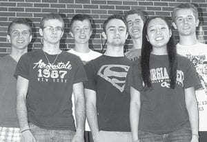 Members of the PHS Class of 2013 talk about their high school experiences. From left: Caleb Liechty, Tyler Burkholder, Timothy Iott, Matthew Storrer, Tanner Rufenacht, Hannah Tilley, and Jacob Roth.– photo by David Pugh