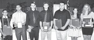 Seniors from Archbold and Pettisville were among the 482 from the Four County Career Center who received certificates and career passports marking the end of the training at FCCC, Wednesday, May 22. Among those completing the program are, from left: Justin Arce, Archbold, law enforcement & security tactics, award of merit; Derek Plotner, Archbold, work transition, outstanding student; Devin Frank, Archbold, automotive technologies, outstanding student; Josh Borton, Pettisville, welding fabrication, outstanding student; Chase Westrick, Archbold, chef training, outstanding student; Brooke Betz, Pettisville, health careers, award of merit; Amber Loar, Pettisville, sports fitness & exercise science, outstanding student & award of merit. Absent: Joel Brakefield, Pettisville, software design & web development, award of merit; Tiffani Grieser, Archbold, cosmetology, award of merit; Tatum Smith, Archbold, cosmetology, award of merit; and Bridget Spiess, Archbold, cosmetology, award of merit.– courtesy photo