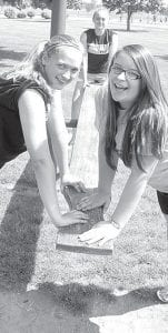Eighth grade girls were enjoying the teeter-totter during the Pettisville high school-junior high school picnic at the Pettisville Park, Thursday, May 16. From left: Jasmyn Barton, Shelby Weber, and Sydney Purtee.– photo by David Pugh