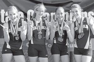 The Archbold girls 4x100 and 4x200 relay teams of Emie Peterson, Emily Roth, Julia Lambert and Delanie Driver, from left, won two state titles and set state records in each event at the Middle School State Track Championships, Sunday, May 26.– courtesy photo