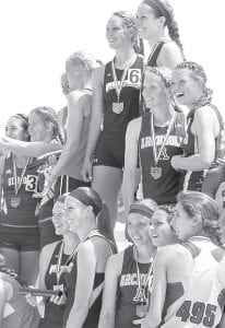 The Archbold girls 4x400 relay finished third in the Division III state track and field tournament, Saturday, June 8. Bottom row, third and fourth from left: Jensyn Garrow, Meridith Short. Top row, at right: Kassidy Garrow, Tressa Parsley.– photo by Mike Nafziger