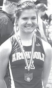 Archbold's Kinsey Smtih placed eighth in Div. III in the long jump.– photo by Mike Nafziger
