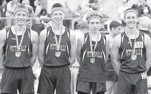 The Pettisville boys 4x800 relay finished eighth in the Division III state track and field tournament, Friday, June 7. From left: Jeremy Mann, Timothy Iott, Kyle Lantz, Dominic Frey.– photo by Mike Nafziger
