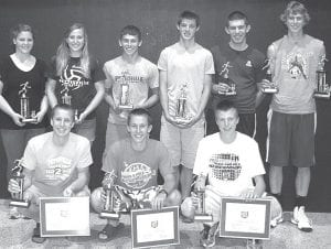 Pettisville boys and girls track athletes receiving awards are, front row, from left: Jeremy Mann, Buckeye Border Conference scholar athlete; All-Ohio, Academic All-Ohio, Most Valuable Player; Dominic Frey, BBC scholar athlete; All-Ohio, Academic All-Ohio, Most Valuable Player; Tim Iott, BBC scholar athlete, All-Ohio, Academic All-Ohio, Coach's Award. Back row: Brooke Waidelich, BBC scholar athlete, MVP award; Jordyn Pursel, MVP award; Dustin Lucas, Most Improved Player; Ethan Brakefield, Coach's Award; Josiah Hoops, BBC scholar athlete; Austin Dykstra, Most Improved Player. Not pictured: Kyle Lantz, All-Ohio, Rookie Award; Shelby Miller, Trisha Cousino, Devon Friend, Joel Brakefield, Josh Sauder, Caleb Liechty, Steven Young, Daniel Sauder, Kurt Siegel, Jordan Brown, Justin Pursel, BBC scholar athletes; Amber Loar, Carley Hoffmire, BBC scholar athletes, Coach's Awards; Claire Foor, Rookie Award; Hannah Herring, Most Improved Player.– courtesy photo