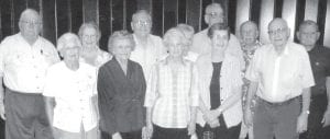 "The Archbold High School Class of 1945 held its 68th class reunion, Saturday, June 1, at the Home Restaurant, Archbold. Front row, from left: Margaret (Keafer) Bollman, Gertrude (Seiler) Hitt, Anna Rose (Nafziger) Kiesow, Doris (Sauder) Yoder, Marlin Wyse. Back row: Don Rupp, Corinne (Ziegler) Gaylord, Charles Lugbill, Mary Jane (Fankhauser) Marchand, Robert Schang, Ralph Aschliman, Marvin ""Tex"" Wyse.– courtesy photo"