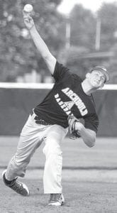 Micah Bernath delivers a pitch against Patrick Henry, Thursday, June 27. He threw a twohitter.– photo by David Pugh