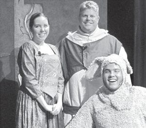 """The three main characters in """"Shrek the Musical are, from left: Myah Shaffer as Fiona, Steve Van Sickle as Shrek and Lorenzo McKeever as Donkey.– courtesy photo"""