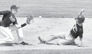 Archbold's Isaac Petersen attempts to steal second, but Coldwater second baseman Jack Hemmelgarn makes the tag in the third inning in the first round of the state tournament, Saturday, July 20.– photo by Mary Huber