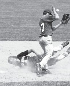 Derek Walker steals second base as Anthony Wayne second baseman Luke Hadley bobbles the ball in the fifth inning of Archbold's Junior Acme state semifinal with the Generals, Sunday, July 21.– photo by Mary Huber