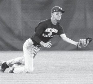 Center fielder Logan Hogrefe stunned the Anthony Wayne fans when he caught this fly ball to end the third inning in Archbold's second championship game with the Generals, Monday, July 22.