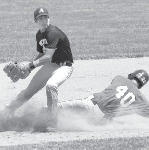 Second baseman Seth Mayer tags Anthony Wayne's Ty Henry for an out, Sunday, July 21. Henry was the tourney MVP.